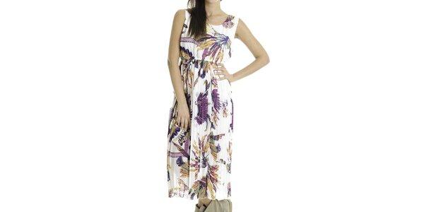 Dámske biele šaty s farebnou potlačou Goa Goa