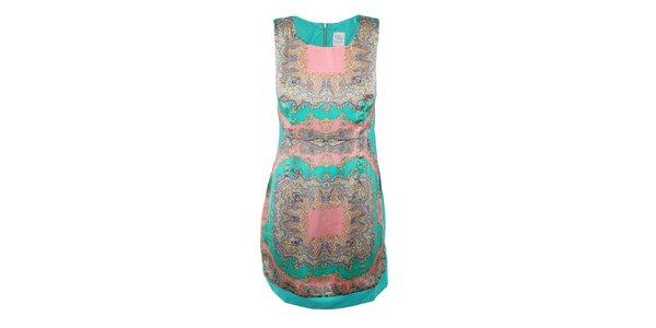 Dámske zelené šaty s farebným vzorom na prednom diele Dislay DY Design