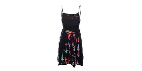 Dámske čierne šaty s prestrihmi Dislay DY Design
