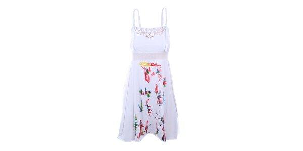 Dámske biele šaty s prestrihmi Dislay DY Design