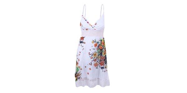 Dámske biele šaty s hlbokým dekoltom Dislay DY Design
