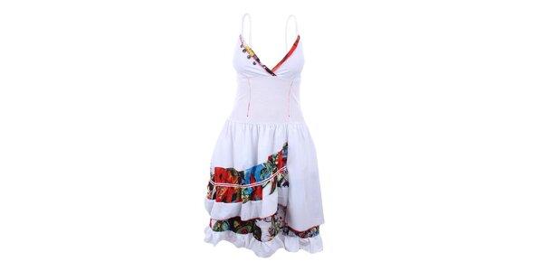 Dámske biele šaty s hlbokým výstrihom Dislay DY Design