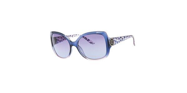Dámske modré okuliare so vzorovanými stranicami Guess
