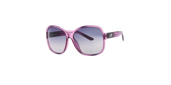 Dámske fialkové hranaté slnečné okuliare Guess