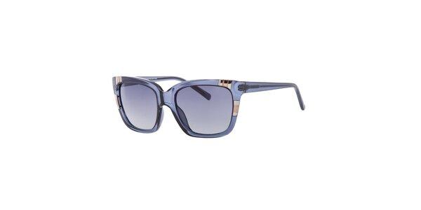 Dámske hranaté transparentné modré slnečné okuliare Guess