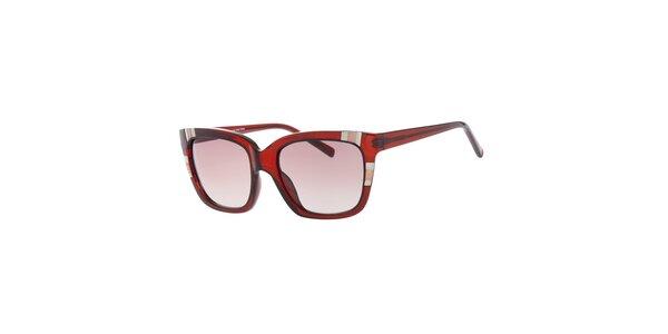 Dámske hranaté červené slnečné okuliare Guess