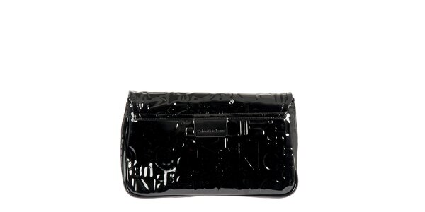 Dámska čierna lesklá listová kabelka Calvin Klein Jeans