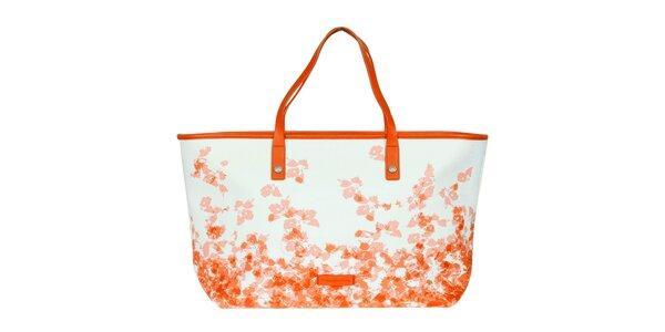 Dámska oranžovo-biela vzorovaná kabelka Calvin Klein Jeans