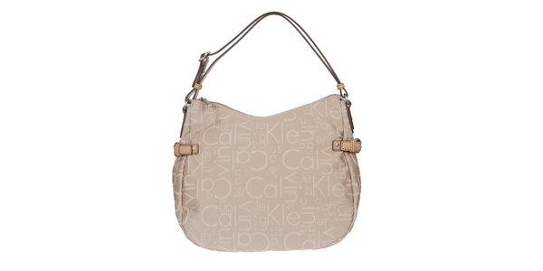 Dámska kabelka s potlačou v béžovej farbe Calvin Klein Jeans