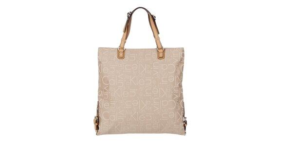 Dámska béžová kabelka s potlačou Calvin Klein Jeans