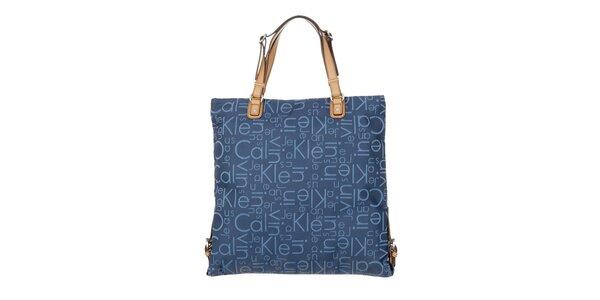 Dámska modrá kabelka s potlačou Calvin Klein Jeans