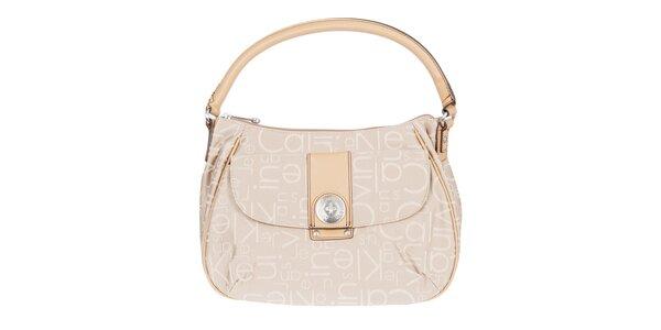 Dámska smotanová kabelka s písmenkovou potlačou Calvin Klein Jeans