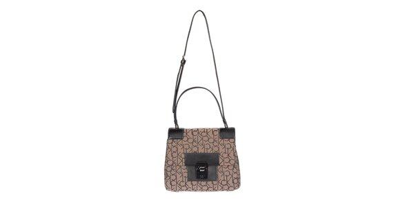 Dámska potlačená kabelka v hnedej farbe Calvin Klein