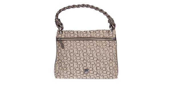 Dámska hnedá kabelka s potlačou Calvin Klein