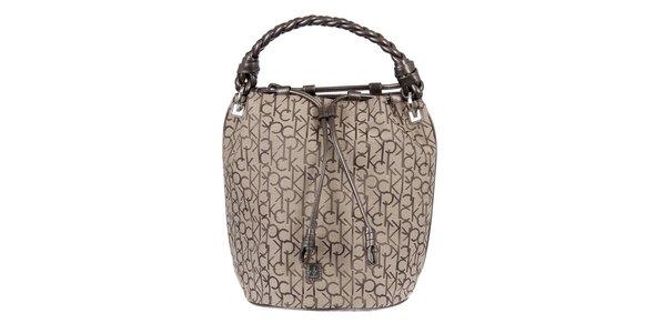 Dámska krémová vzorovaná kabelka s vrkočovým pútkom Calvin Klein