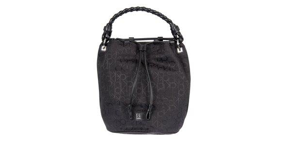 Dámska čierna vzorovaná kabelka s vrkočovým pútkom Calvin Klein