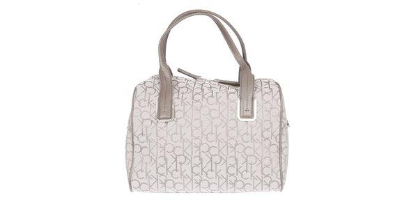Dámska biela kufríková vzorovaná kabelka s koženými pútkami Calvin Klein