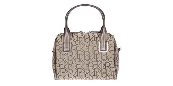 Dámska krémová kufríková vzorovaná kabelka s koženými pútkami Calvin Klein