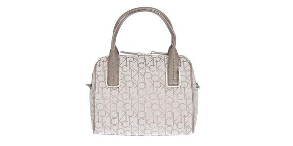 Dámska smotanová kufríková vzorovaná kabelka s koženými pútkami Calvin Klein