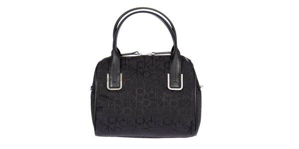 Dámska čierna kufríková vzorovaná kabelka s koženými pútkami Calvin Klein