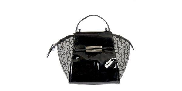 Dámska čierno-šedá kabelka so vzorem Calvin Klein