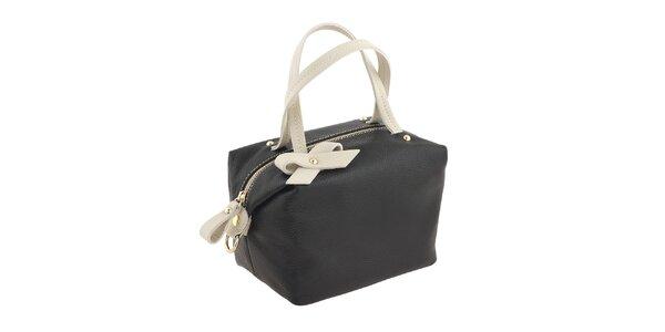 Dámska krémová kabelka s čiernymi prvkami a mašličkou Valentina Italy