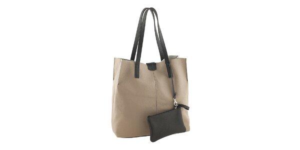 Dámska béžovo-čierna nákupná taška s vreckom Valentina Italy
