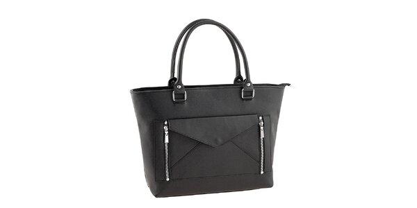 Dámska čierna kabelka s listovou kabelkou Valentina Italy
