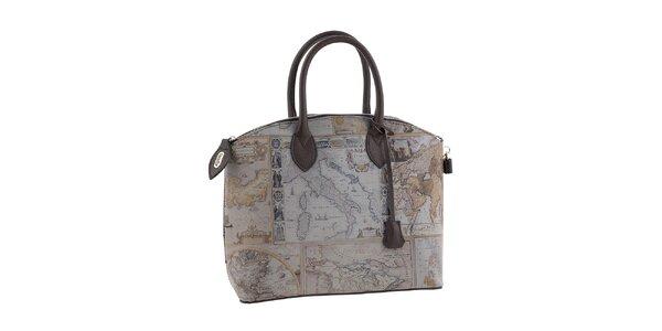 Dámska šedá kabelka s potlačou mapy Valentina Italy