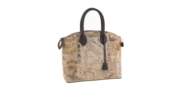 Dámska hnedá kabelka s potlačou mapy Valentina Italy