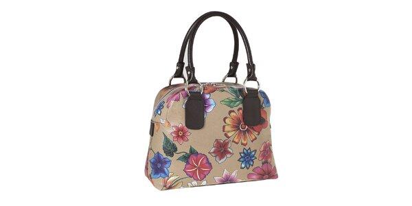 Dámska kabelka s kvetovanou potlačou a kontrastnými pútkami Valentina Italy