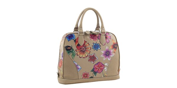 Dámska kožená kabelka s kvetinovou potlačou Valentina Italy