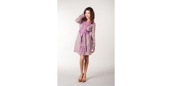 Ružovo-šedé kvetované šaty CurioCity