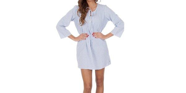 Dámska modrá košeľa s bielymi prúžkami Tommy Hilfiger
