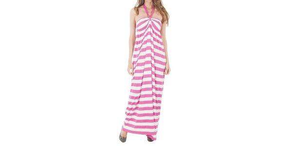 Dámske dlhé pruhované ružové šaty Tommy Hilfiger