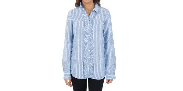 Dámska modro-biela pruhovaná košeľa s volánmi Tommy Hilfiger