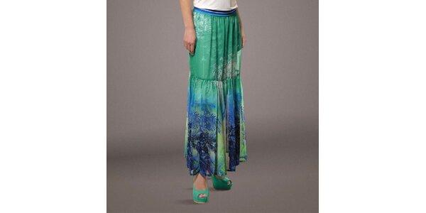 Dámska dlhá zeleno-modrá sukňa s palmami Patricia Rado