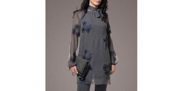 Dámska hodvábna tunika v šedej farbe Patricia Rado