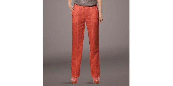 Dámske korálovo červené ľanové nohavice Patricia Rado