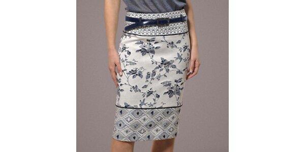Dámska biela sukňa s modrým vzorom Patricia Rado