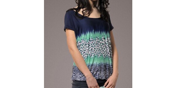 Dámske tmavo modré tričko so vzorom Patricia Rado