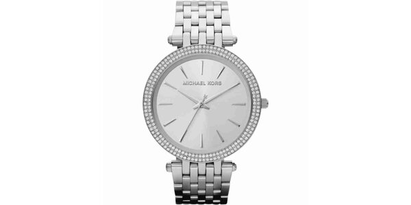 Dámske ocelové guľaté hodinky s kryštálikmi Michael Kors