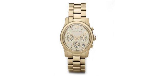 Dámske pozlátené ocelové hodinky Michael Kors so stopkami