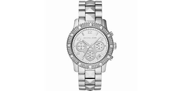 Dámske ocelové hodinky s bielymi kryštálikmi Michael Kors