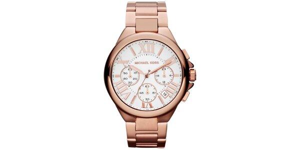 Dámske pozlátené ocelové hodinky s okrúhlym ciferníkom Michael Kors