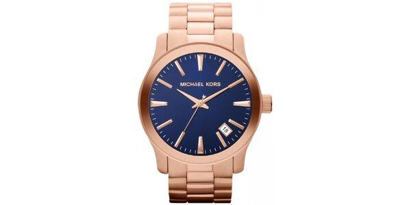 Dámske pozlátené hodinky s tmavým ciferníkom Michael Kors