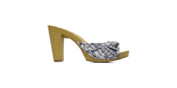 Dámske modré kárované topánky na opätku Elite