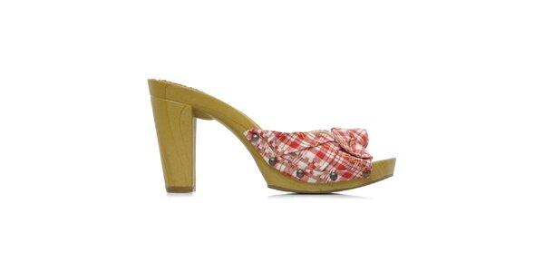 Dámske kárované topánky na opätku Elite