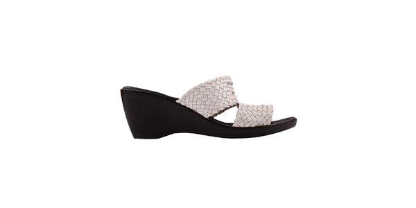 Dámske bielo-čierne sandálky na kline Toscania