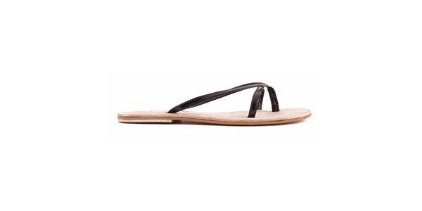 Dámske čierne nazúvacie sandálky Toscania